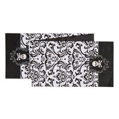 """C & F Black White Damask Halloween Skull Embroidered Table Runner 13"""" X 72"""""""