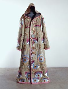 """Grayson Perry RA ~ """"Artist's Robe"""" Embroidered silk brocade, leather, printed linen and ceramic buttons. 179 x 70 cm. Courtesy the Artist and Victoria Miro, London ©Grayson Perry via Royal Academy of Arts Grayson Perry, Textile Fiber Art, Textile Artists, Fashion Identity, Royal Academy Of Arts, Textiles, Chiffon, Printed Linen, Embroidered Silk"""