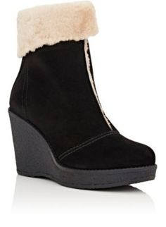 Mr and Mrs Italy Suede & Shearling Wedge Ankle Boots   Barneys New York