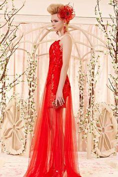 Modern sexy fashion wedding dress budget wedding dress red party dress