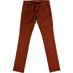 Pre-owned J Brand Mid-Rise Skinny Jeans ($65) ❤ liked on Polyvore featuring jeans, orange, skinny jeans, skinny leg jeans, orange jeans, brown jeans and cut skinny jeans