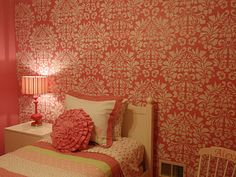 Girl's Bedroom featuring Large Fabric Damask stencil from Royal Design Studios.