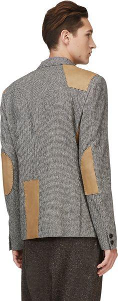 Kolor: Black Houdstooth Leather-Trimmed Blazer