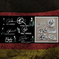 Rammstein stickers vinyl autographs Till Lindemann, Paul Landers, Richard Kruspe, Oliver Riedel, Christoph Schneider, Christian Flake Lorenz  #Rammstein #TillLindemann