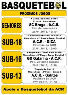 ACR: Basquetebol  Próximos Jogos  > 26 e 27 Janeiro 2013