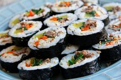 Beef Kimbap   Chef Julie Yoon Korean Spring Rolls Recipe, Asian Recipes, Beef Recipes, Ethnic Recipes, Fall Recipes, Fried Cucumbers, Middle Eastern Dishes, Bulgogi, Recipe Directions