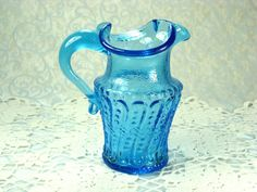 Beautiful Little Blue Blown Glass Pitcher with by HappyGalsVintage
