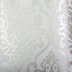 """Mood Living """"Nino"""" Silver and White Damask Wallpaper I think this could be awesome in the dining room- doubt matt will go for it..."""