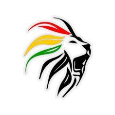 Rastafari Lion Sticker, Marley Lion Art Dreadlock Rastafari Kiss-Cut Stickers for Rasta Lover, Kiss-Cut Stickers Bob Marley Dibujo, Arte Bob Marley, Rasta Art, Rasta Lion, Rasta Tattoo, Lion Tattoo, African Logo, Rastafari Art, Middle Finger Tattoos