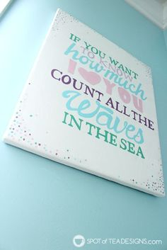 Under the Sea #Nursery Wall art Quote using @DecoArt_Inc Americana Acrylic Paint | spotofteadesigns.com