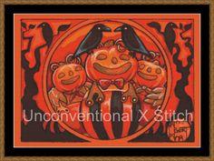 Pumpkin men ravens Halloween cross stitch pattern - modern counted cross stitch - The Pumpkin Gang  - Licensed Natalie Ewert by UnconventionalX on Etsy