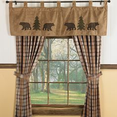 Rustic curtain ideas amazing of country cabin curtains decorating with best cabin curtains ideas on home Cabin Curtains, Rustic Curtains, Kitchen Curtains, Window Curtains, Grey Curtains, Bedroom Curtains, Black Bear Decor, Black Forest Decor, Window Coverings