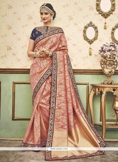 Light Peach Colour Silk Fabric Party Wear Saree Comes with matching blouse. This Saree Is crafted with Woven,Zari Work,Embroidery,Moti Work,Lace Work This Saree Comes with Unstitched Blouse Which Can . Designer Sarees Online, Silk Sarees Online, Indian Attire, Indian Ethnic Wear, Indian Dresses, Indian Outfits, Indian Clothes, Light Peach Color, Beige Color