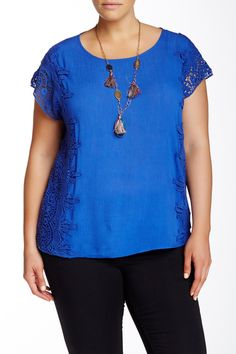Lace Trim Blouse (Plus Size) by Soieblu on @nordstrom_rack