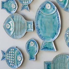 Global Views Blue Ceramic Fish Plate