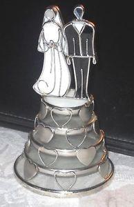Stained Glass Wedding Bride Groom Keepsake cake topper figurine