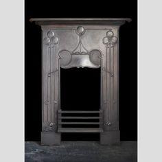A+cast+iron+Art+Nouveau+combination+grate+front
