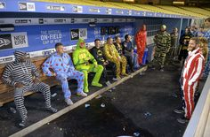 Chicago Cubs pajama party.  Funny