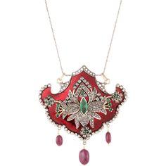 Enamel Emerald Ruby Diamond Necklace Vintage 925 Sterling Silver 14 Karat Gold Fine Jewelry -- found at www.rubylane.com #vintagebeginshere