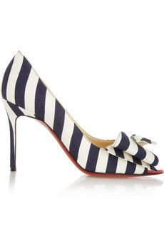 Hello, Lover! Christian Louboutin Just Soon 85 striped canvas pumps | NET-A-PORTER