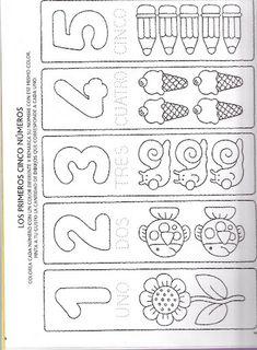 Foto Kindergarten Math Worksheets, Learning Activities, Preschool Activities, Kids Learning, Homeschool Worksheets, Math For Kids, Lessons For Kids, Spanish Teaching Resources, Printable Numbers
