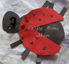 Crafty Moms Share: Virtual Book Club for Kids-- What the Ladybug Heard - paper ladybird with split-pin to attach wings