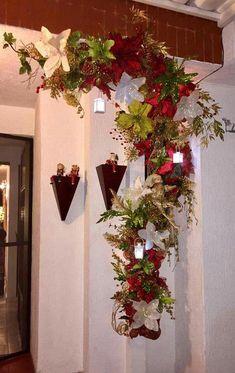 Deco Navidad #PapaNoelyaviene Purple Christmas Tree Decorations, Easy Holiday Decorations, Colorful Christmas Tree, Christmas Themes, Christmas Wall Hangings, Christmas Swags, Noel Christmas, Christmas Crafts, Christmas Ornaments