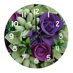 Purple Rose Bouquet Wall Clock