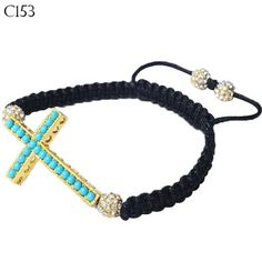 """Gold-Tone Cross Turquoise-Tone Blue Green Beaded Adjustable Macrame Bracelet. """"Tiny Gold Bead Cross"""" by My Daily Styles. Material: Beads, Cord, Alloy. Length: Adjustable (Approx. 7.50in - 9.00in). Width: Approx. 1.00in. Origin: Imported."""