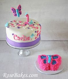 Flutterbies Butterflies 1st Birthday Cake pal cumple de Mafe
