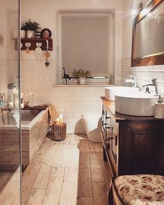 Rustic Bathroom: 55 Ideas and Decorating Designs to Inspire - Home Fashion Trend Cosy Bathroom, Bathroom Sets, Dream Bathrooms, Bathroom Interior Design, Diy Interior, Bathroom Inspiration, Home Accessories, Sweet Home, House Design