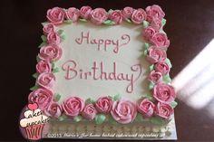 Birthday Cakes - Fresh cream cake Square Birthday Cake, Heart Birthday Cake, Birthday Sheet Cakes, Adult Birthday Cakes, 23 Birthday, Buttercream Flower Cake, Cake Icing, Cupcake Cakes, Cupcakes