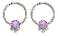 "Pair of Synthetic Purple fire Opal indonesian bead Captive Ring lip, belly, nipple, cartilage, tragus, septum, earring body Jewelry piercing hoop - 14 gauge, 1/2"" (12mm) 14g"