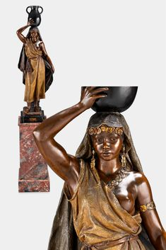 Antique terra cotta sculpture by Goldscheider, African maiden with water jug, signed and stamped, for sale at M. Goldscheider, Bronze Sculpture, Sculpture Art, Sculptures, Art Nouveau, Art Deco, Abstract Styles, Terra Cotta, Statues