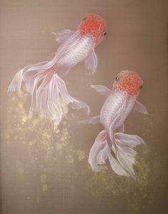 錦鱗行 eastern gouache , silk fabric, goldfish by chih-yi chen