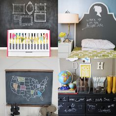 """Love these ideas. I personally hesitate to consider them for the bedroom, since I know chalk creates a lot of """"dust"""" - but maybe for a playroom, or allocate a spot in the kitchen, where it could work for everyone."""