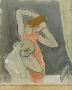 "huariqueje: "" In front of the Mirror - Helene Schjerfbeck 1937 Finnish Oil on canvas. 85 x 69 cm "" Helene Schjerfbeck, Figure Painting, Painting & Drawing, Scandinavian Art, People Art, Portrait Art, Figurative Art, Painting Inspiration, Online Art"