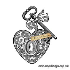 Antique Key Keyhole Ornate Heart Instant Download by WingedImages