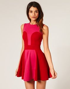 red and pink dress