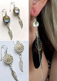 Gypsy Earrings Boho Earrings Silver Feather Earrings Feather Jewelry Gift Under 25 Silver Feather Dangle Earrings Gift For Her