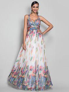 Formal Evening/Military Ball Dress - Print Plus Sizes A-line/Princess Straps Floor-length Chiffon - USD $119.99
