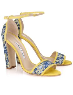 Alexander Lewis collaborates with Manolo Blahnik to create surfer-girl-meets-Asian-urbanite heels for Pre Spring Yellow High Heels, Yellow Sandals, Yellow Shoes, Ankle Strap Heels, Ankle Straps, Creative Shoes, Chunky Heel Shoes, Manolo Blahnik Heels, Beautiful Sandals