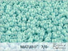 10 g Soft Sky Blue Opal White Luster Czech by BeadsOfBohemia