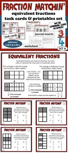 Help your students become proficient with equivalent fractions with this set of task cards and printables.  Includes 2 journal-sized reference sheets, 32 task cards and assessment activity. $