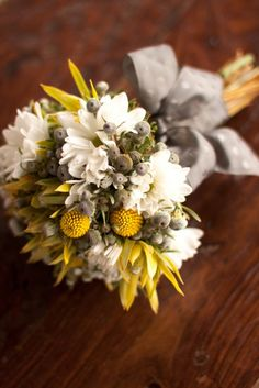 Yellow and Grey Bouquet Design by at www.myweddingflowerideas.co.uk