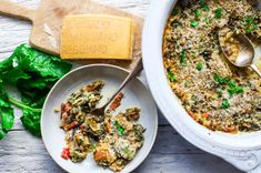 Chard and Porcini Mushroom Gratin - a festive winter side dish - food to glow Food Dishes, Side Dishes, Homemade Crackers, Roasted Butternut Squash, Collard Greens, Diet Recipes, Festive, Stuffed Mushrooms, Gratin