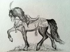 Horse Pen & Ink Drawing Art by Brandie Larson, graphicbrewery.com.  Want a custom pet portrait, contact me at my website!