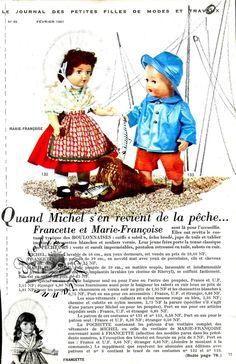 ❤ Page originale, Poupée Michel Marie Françoise MODES ET TRAVAUX Février 1961 ❤ : 1,99 EUR
