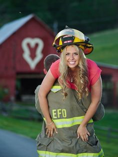 She's a gorgeous bride-to-be, and he's a handsome fireman. Click to view more! Completely in love with this Elizabethton engagement session by @ladonnacable with Cable Photography. | The Pink Bride www.thepinkbride.com. Check out that cool T-Shirt here: https://www.sunfrog.com/I-love-my-firefighter-Black-Ladies.html?53507