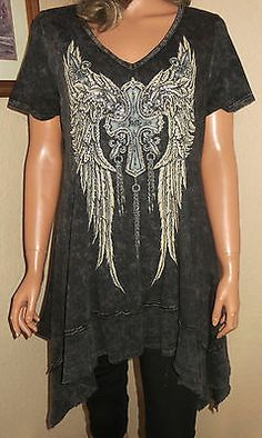VOCAL SS BLACK DISTRESSED RHINESTONE VNECK CROSS WINGS Gypsy KNIT TOP JUNIORS 2XL EUC our prices are WAY BELOW RETAIL! ALL JEWELRY SHIPS FREE! baha ranch western wear ebay seller id soloedition www.baharanchwesternwear.com